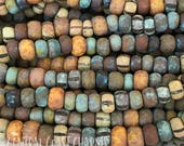 Painted Sky - Aged Striped 2/0 - 3/0 Czech Glass Rocaille Seed Bead Mix - 50 pcs - 5.5mm 6mm - Rustic Opaque Picasso - Central Coast Charms