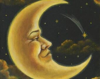 Moon Man Print, Crescent Moon Portrait, Man on the Moon, Celestial Art, Lunar, Astrology, Moon and Stars, Moonlight Astronomy, Harvest Moon