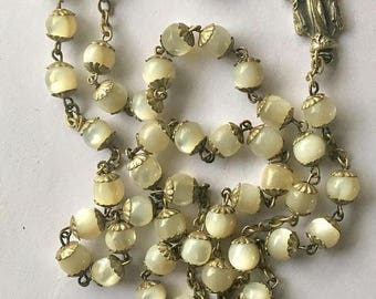 ON SALE Vintage White Satin Glass Rosary Roma