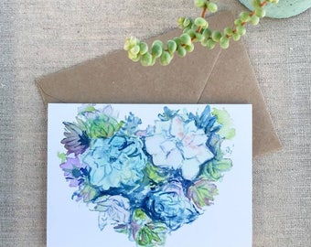 Succulent Heart Hand-Painted Watercolor Greeting Card