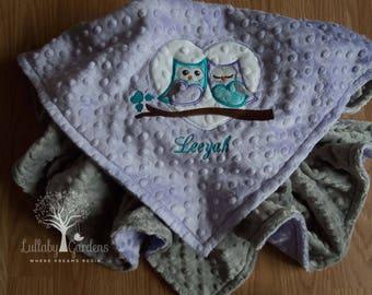 Personalized Minky Baby Blanket, Owl Minky Blanket, Owl Blanket, Lavender and Turquoise Minky Blanket, Appliqued Owl Minky Blanket