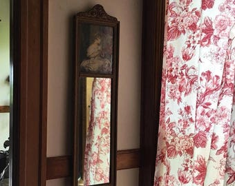 Stunning Antique Mirror with Little Girl Print Cottage Chic Nordic  French