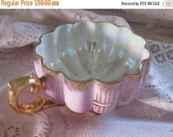Antique Tea Cup Pink Gold Lusterware - Fragonard Inspired