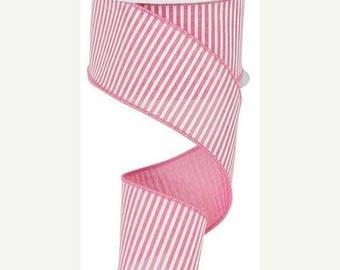 SUPPLY SALE 2.5 Inch Pale Pink White Horizontal Stripes Royal RG178115, Deco Mesh Supplies