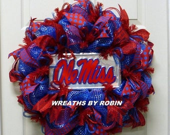 ON SALE Mississippi Sports Wreath, Ole Miss Wreath, Royal Blue Red Wreaths (2261)