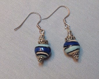 Two Tone Blue Earrings with Fair Trade African  Kazuri Beads