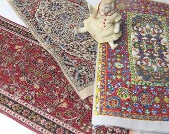 3 Vintage Dollhouse Turkish Design Style Rugs Woven Carpet Miniature Dollhouse Rugs Wall Decor, Bedspread