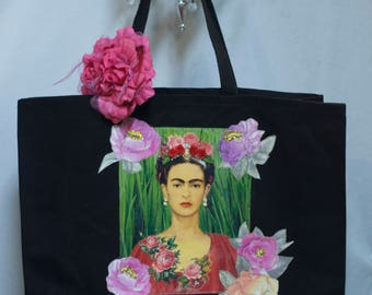 Frida, Colorful Floral, Black Canvas, Tote Bag, Appliqué, Beading, Kahlo