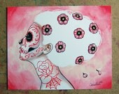 Pretty Sugar Skull Girl With Cherry Blossums Tattooed Woman - I Had So Much On My Mind - Hand Signed Tattoo Art Print 5x7, 8x10, or 11x14 in