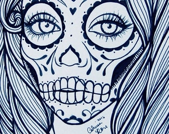 ORIGINAL Drawing Inktober - Day of the Dead Sugar Skull Girl Black and White Ink Drawing