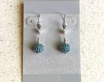 Leverback Earrings 8mm Aquamarine Swarovski Crystal Disco Balls Sterling Silver Daisy Spacer Bottoms Silver Leverbacks Sterling or Plated
