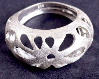 Silver Floral Ring For Women, Statement Ring, Romantic Ring, Sterling Silver Ring, Silver Lace Ring, Unique Silver Ring, Nature Jewelry