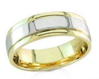 10k white and yellow gold mens 7mm wedding band anniversary solid