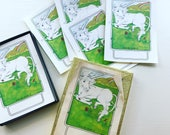 Vintage Antioch Unicorn Bookplates Set of 4 Singles