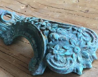 Up-Cycled Whimsical Vintage Ornate Brass Chandelier Arm - Assemblage Supply - Homemade Verdigris Appliqué