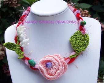 Happiness necklace, beaded crochet flowers and polymer
