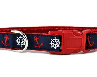 "Ready-to-Ship: Anchors Aweigh Jacquard - 1"" Buckle Collar - SMALL - Nickel-Plated Hardware"