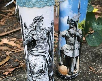 Norse Deities 7-Day Candles: Frigg & Odin (Heathen Viking Asatru Gods Germanic)