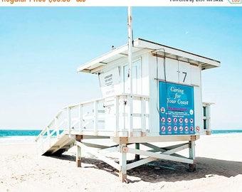 "SALE Beach Photography, Malibu California, Lifeguard Tower, Coastal Blue Turquoise White, Seaside, Beach Decor, Coastal Living Wall Art ""Tow"