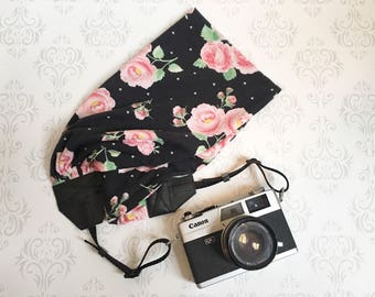 Scarf Camera Strap, DSLR Camera Strap, Soft and Silky, Nikon, Canon, DSLR Photography,  Photographer Gift - Black with Roses