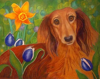 Dachshund art painting tulips daffodil pet portrait  ORIGINAL Dog animal Painting dachshund pets dogs