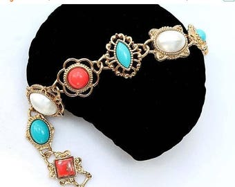 20% OFF SALE - Vintage SARAH Coventry Faux Coral, Turquoise and Pearl Cabochon Link Bracelet