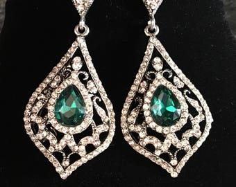 Emerald Green Earrings Long Rhinestone Earrings in Green or Blue and clear rhinestones Art Deco vintage style Wedding mother of the bride