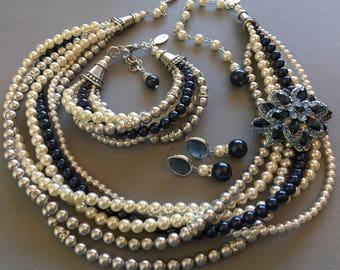 Chunky Twisted Jewelry Set Necklace Bracelet Earrings Navy Blue and Gray or Dark Grey Ivory Mix Swarovski Pearls Navy Brooch pick your color