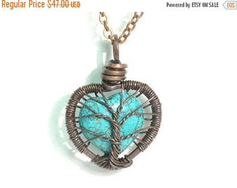 20% OFF Vacation SALE Baby Tree Love. A Heart Shaped Turquoise Stone Tree of Life Necklace in Antique Copper.