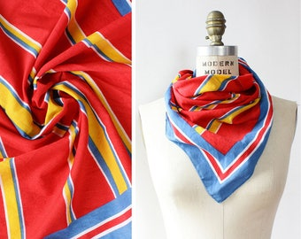 Vintage Cotton Scarf • 60s Scarf • Square Scarf Cotton • Square Scarf Stripe • Primary Colors Cotton Scarf • Summer Scarf | SC288