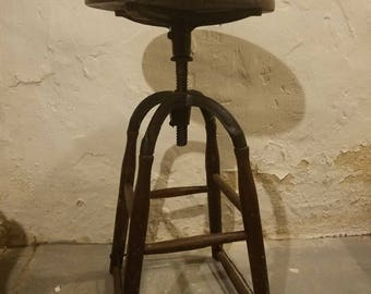 Antique industrial cast iron and wood adjustable stool