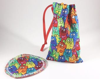 Menstrual Cup Bag, Menstrual Cup Pouch Cats
