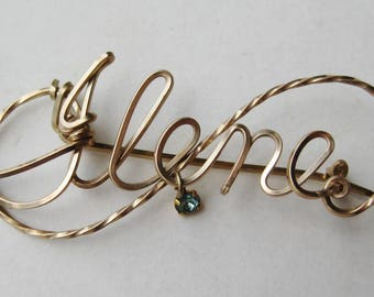 Vintage Gold Wire Script Ilene Sweetheart Brooch Pin