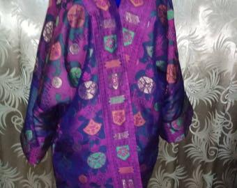 Pure silk jacquard woven kaftan. Violet  kaftan, silk cardigan, silk robe, bohemian kaftan, tribal coat