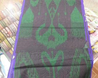 Uzbek handwoven silk ikat fabric by meter