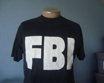 Vintage 80's FBI punk rock cops police party just say no T shirt Adult size L