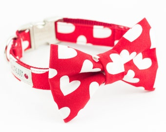 Red Hearts Dog Bowtie Collar