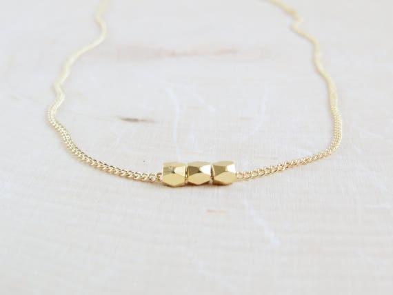 Tiny Gold Bead Necklace