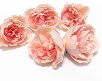 5 Artificial Peachy Pink Cabbage Roses  - Artificial Flowers, Silk Flowers, Flower Crown, Hair Accessories, DIY Wedding, Millinery, Hat