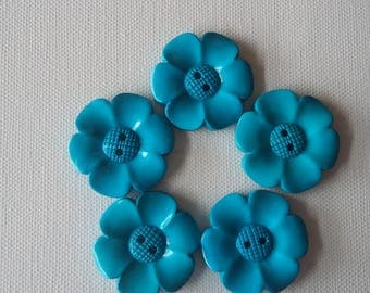 SALE Lot of 5 Flower Buttons - 40mm- Turquoise  WAS 5.00 NOW 4.00