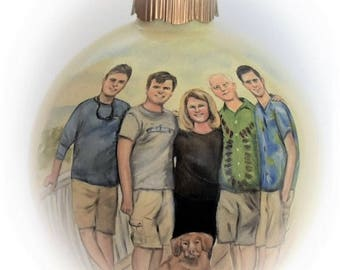 Family portrait painting on 4 inch ornaments, Grandchildren portraits Christmas ball ornaments