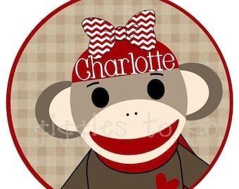 SALE : CHRISTMAS IN July Sock Monkey's Gone Girly Iron on