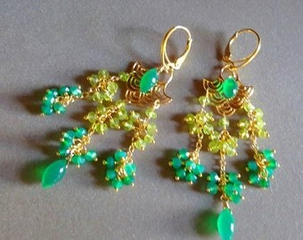 Summer Sale Green Gemstone Chandelier Earrings, Peridot and Green Onyx Asian inspired Earrings Gift For Her