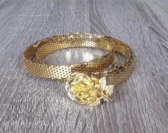 Vintage skinny metal belt GOLD ROSE fancy - S/M/L