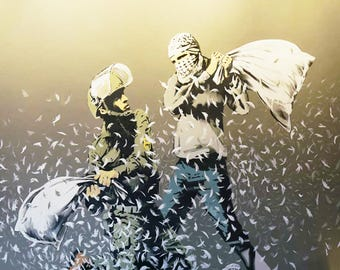 Banksy Print  - Pillow Fight  - Multiple Paper Sizes