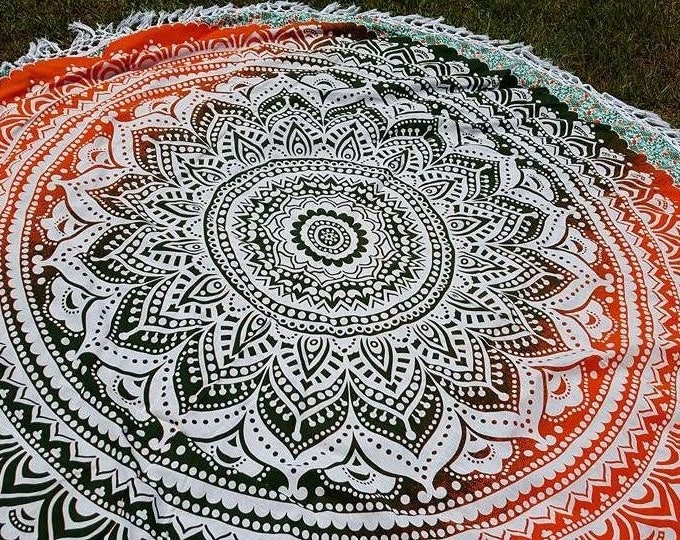 Green and Orange Mandala Roundie with White Fringe Mandala Tapestry Beach Blanket Yoga Mat Meditation Mat Dorm Decor Hippie Tapestry