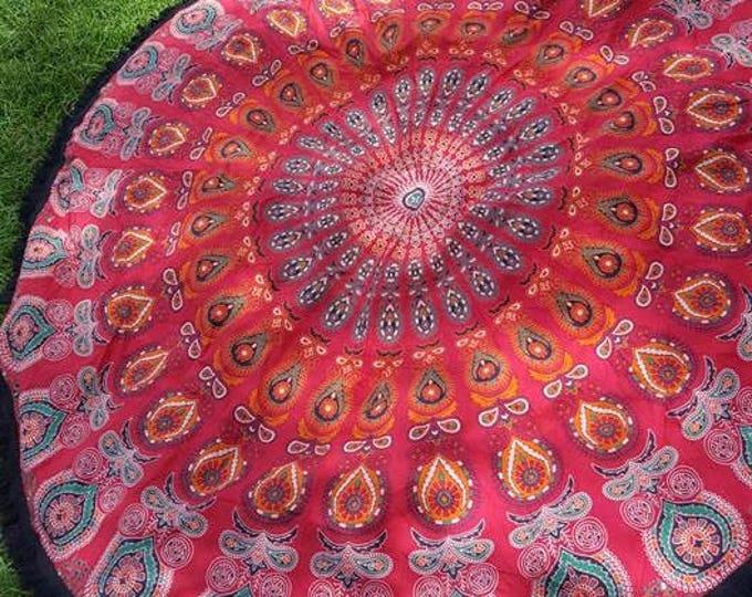Red and Orange Mandala Roundie with Black Fringe Mandala Tapestry Beach Blanket Yoga Mat Meditation Mat Dorm Decor Hippie Tapestry