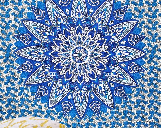 Blue and White Mandala Starburst Tapestry Boho Hippie Wall Hanging Beach Blanket Yoga Mat Meditation Mat Dorm Decor Music Festival Tapestry