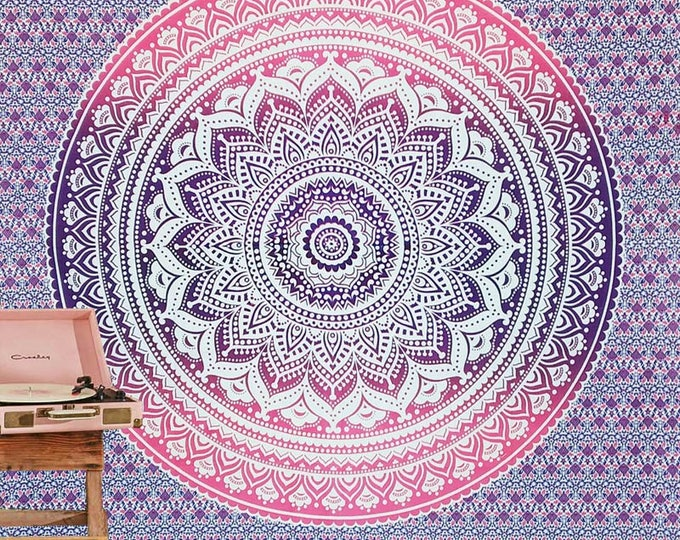 Traditional MandalaTapestry Boho Hippie Wall Hanging Beach Blanket Yoga Mat Meditation Mat Dorm Decor Music Festival Tapestry Pink or Blue