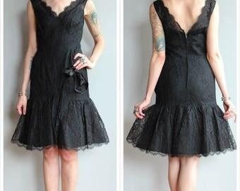 1960s Dress // Black Lace Cocktail Dress // vintage 60s dress